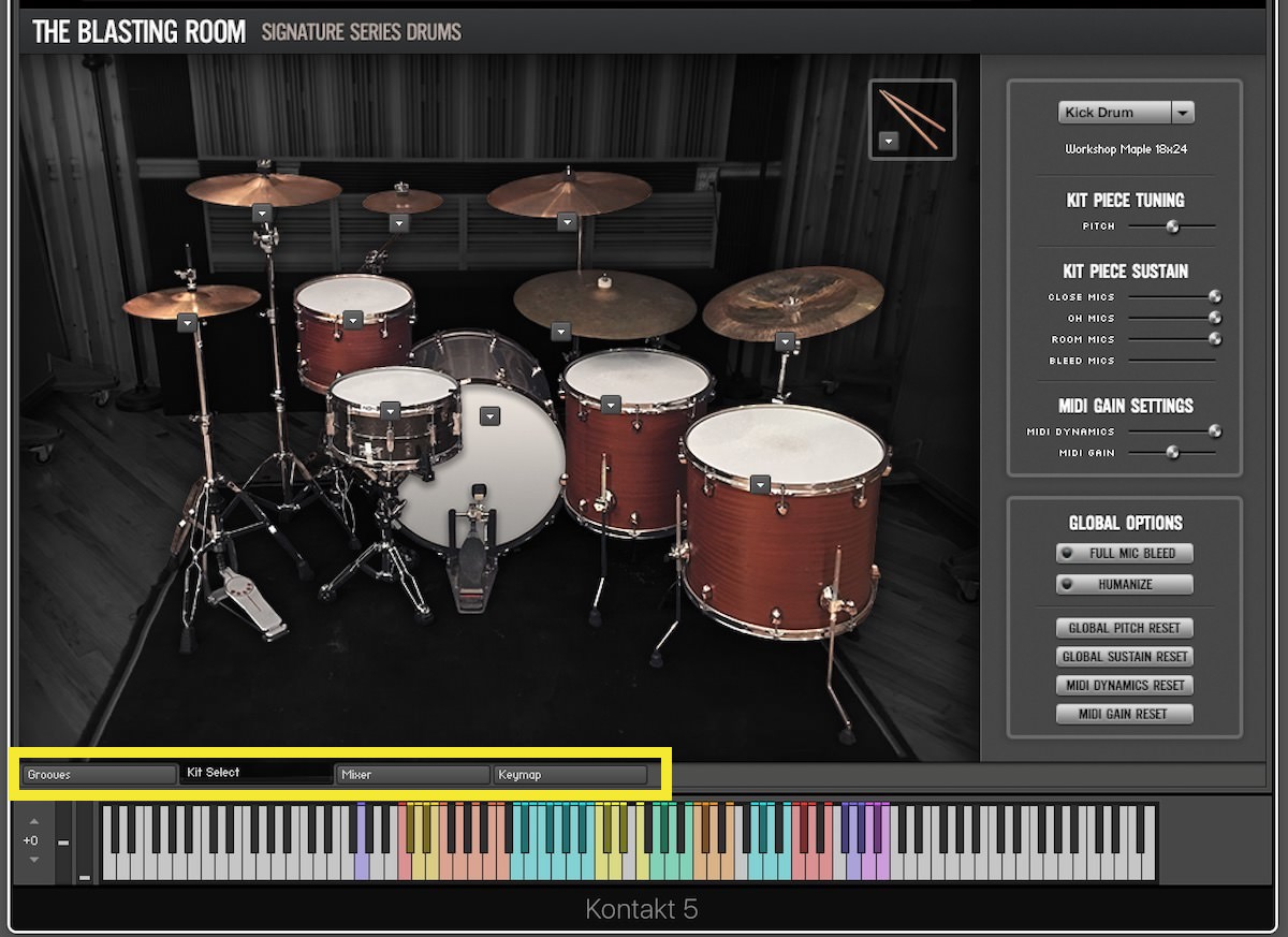a screnshot of the Review - Blasting Room Signature Series Drums user interface