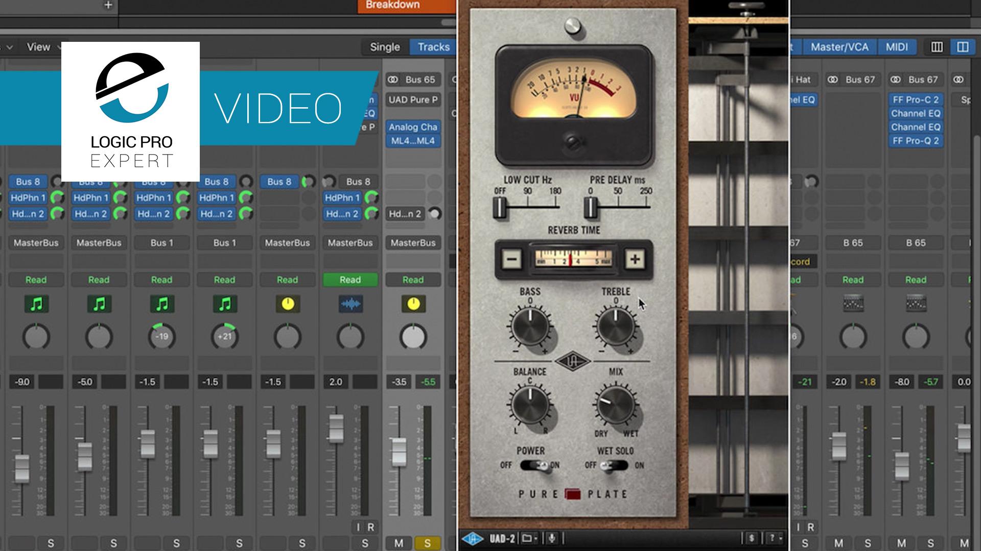 a screenshot of the Universal Audio Pure Plate Reverb plugin in Logic Pro X