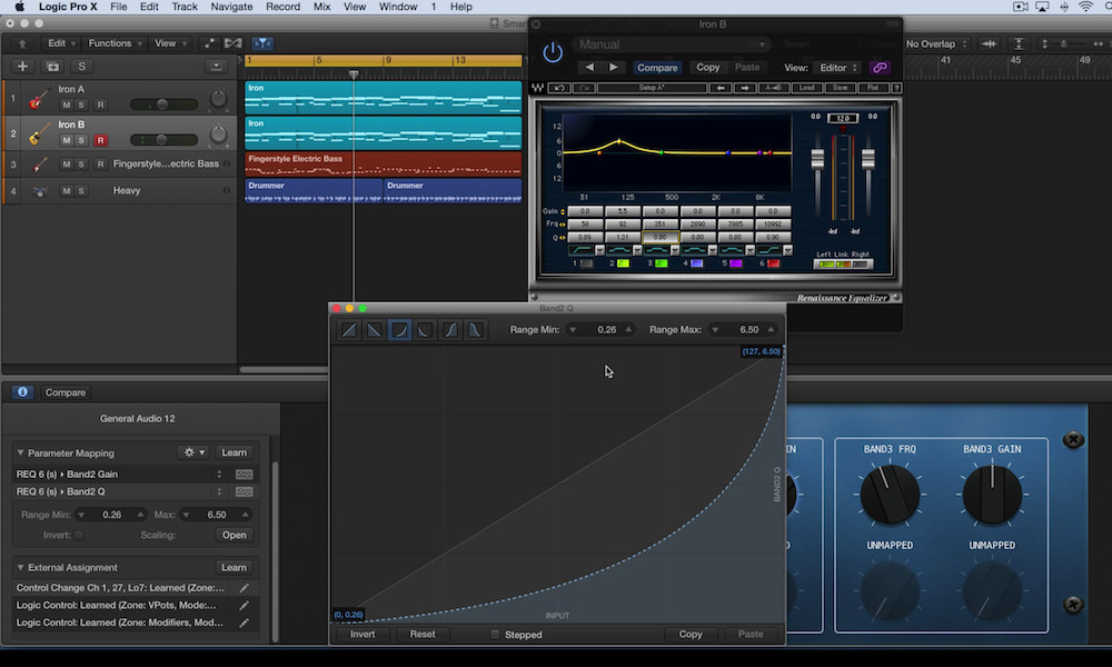 a screenshot of using smart controls in logic pro x with the waves renaissance eq