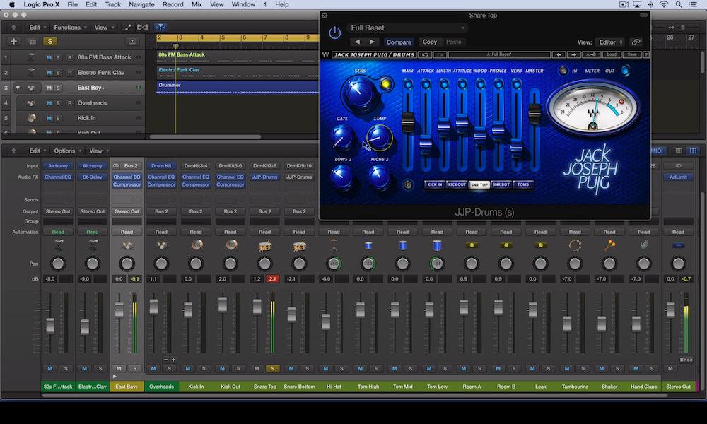 a screenshot of the waves jjp drums plugin in logic pro x