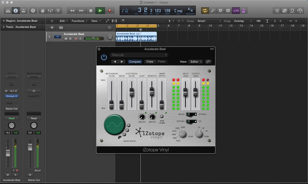 a screenshot of izotope vinyl in logic pro x
