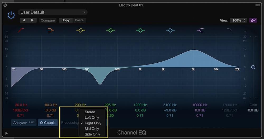 logic pro x channel eq left right processing