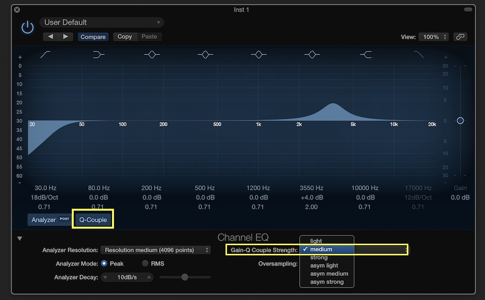 logic pro x channel eq 1-coupling settings