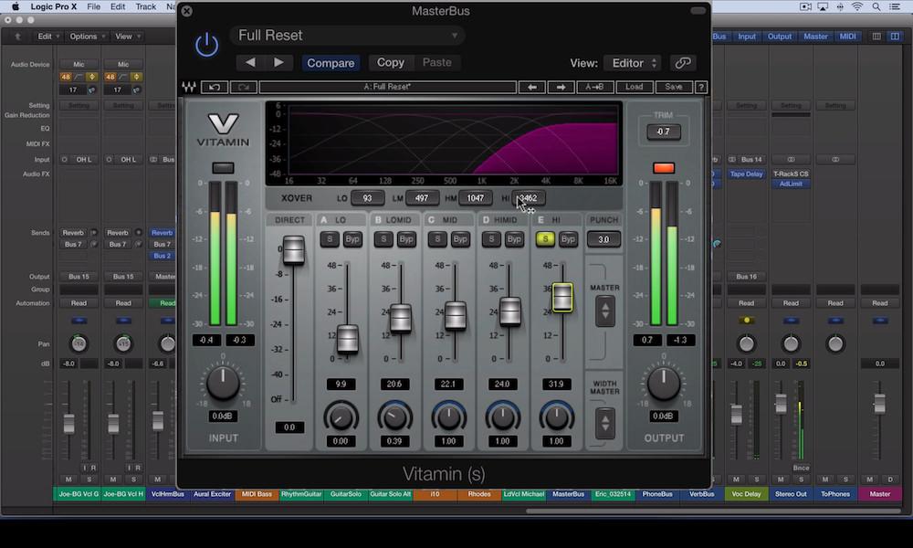 a screenshot of the waves vitamin sonic enhancer plugin in logic pro x