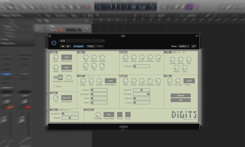 a screenshot of digits, a free software instrument, at work in logic pro x
