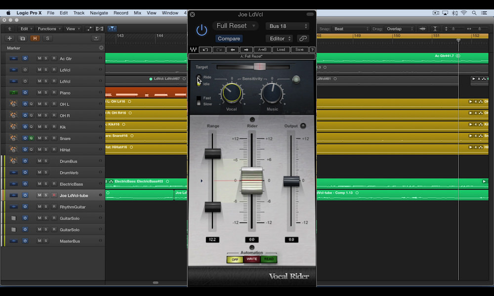 a screenshot of waves vocal rider used in logic pro x