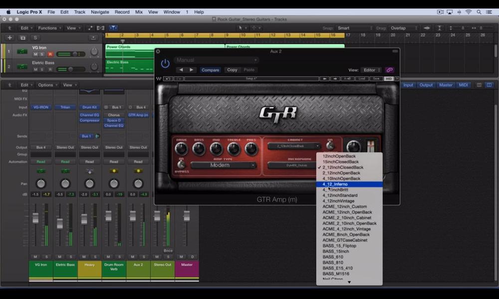 a screenshot of the waves gtr 3 plugin in logic pro x