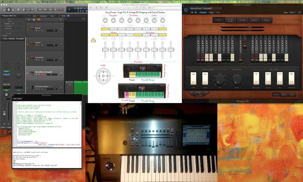 control logic pro x vintage b3 organ with korg kronos music workstation
