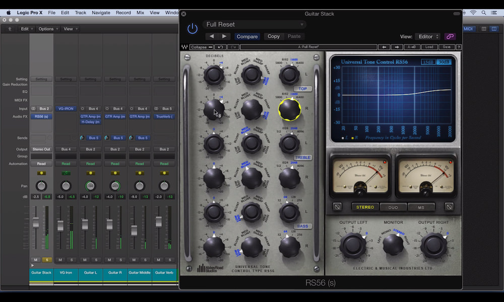a screenshot of the waves abbey road rs56 passive eq in logic pro x