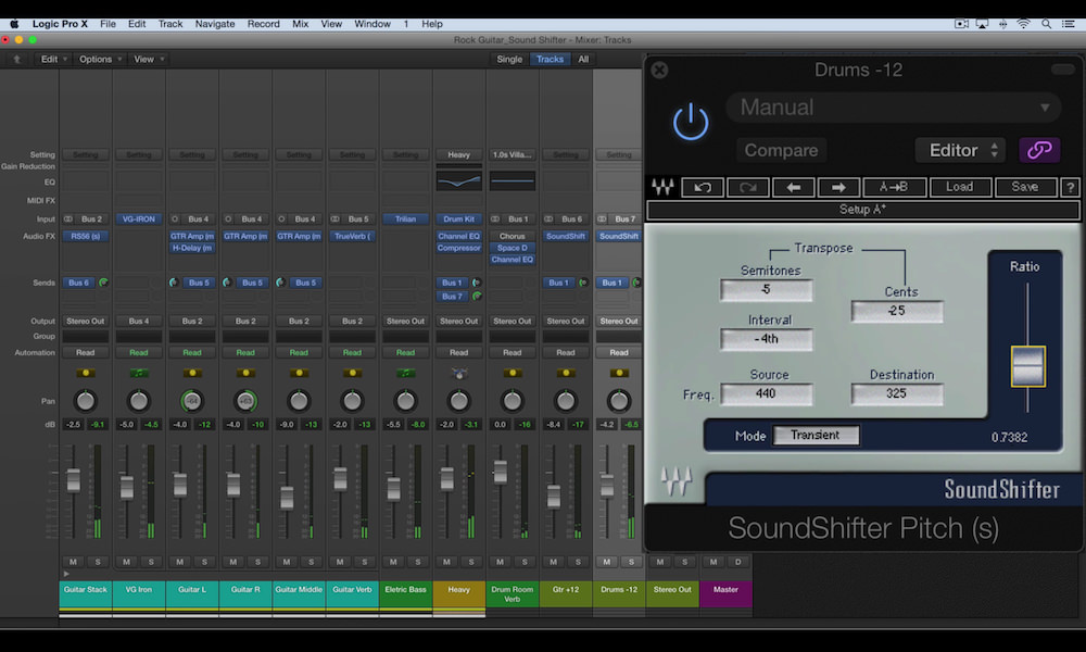 a screenshot of the waves soundshifter plugin in logic pro x