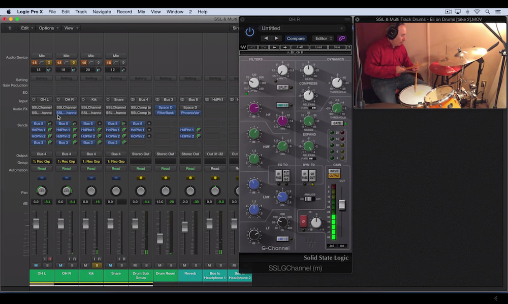 a screenshot of the waves ssl channel strip plugin in logic pro x
