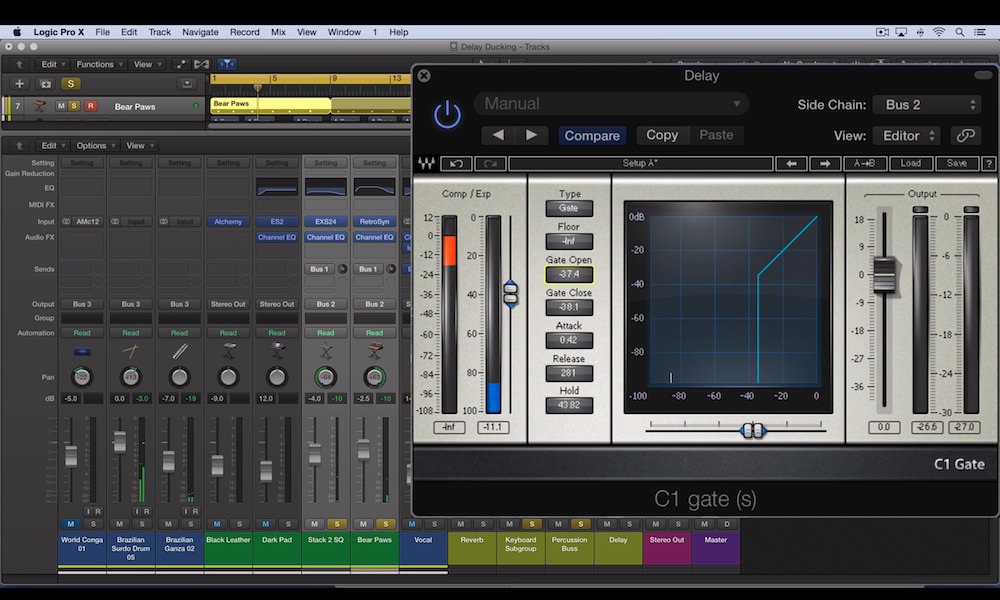 a screenshot of the waves c1 gate plugin used in Logic Pro X