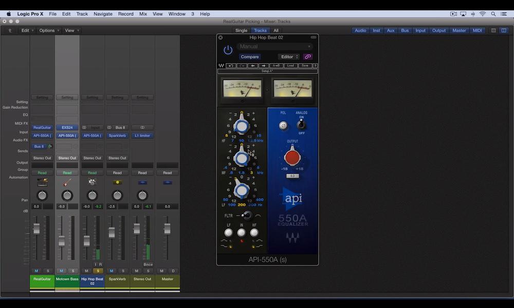 a screenshot of the Waves API 550a plugin in Logic Pro X