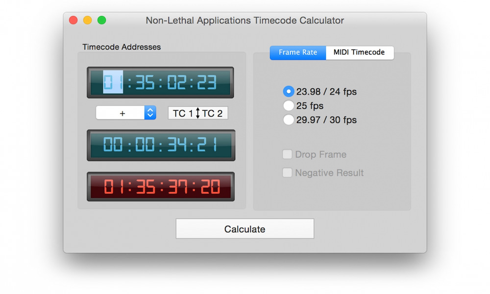 Free Timecode Calculator