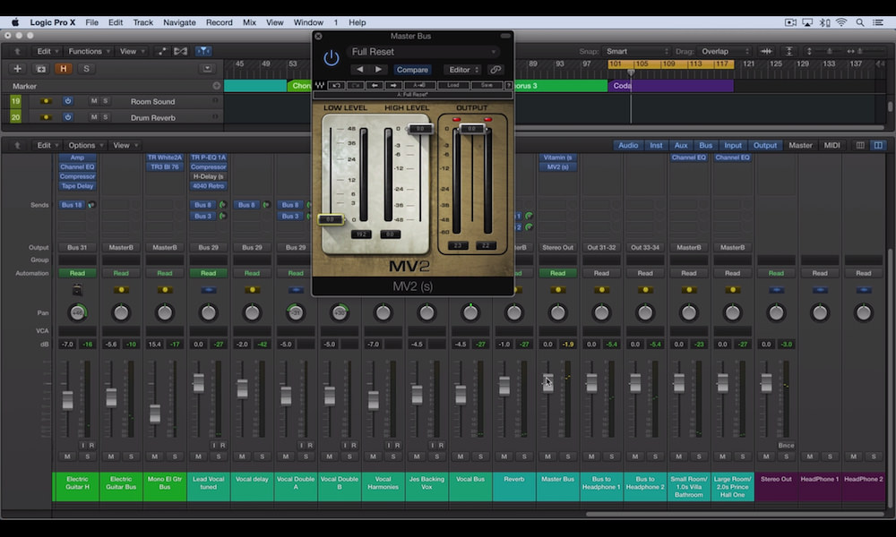 a screenshot of the waves mv2 plugin used in logic pro x