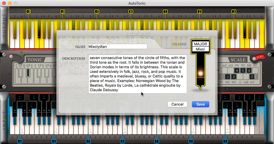a screenshot of the autotonic MIDI processing application for Mac