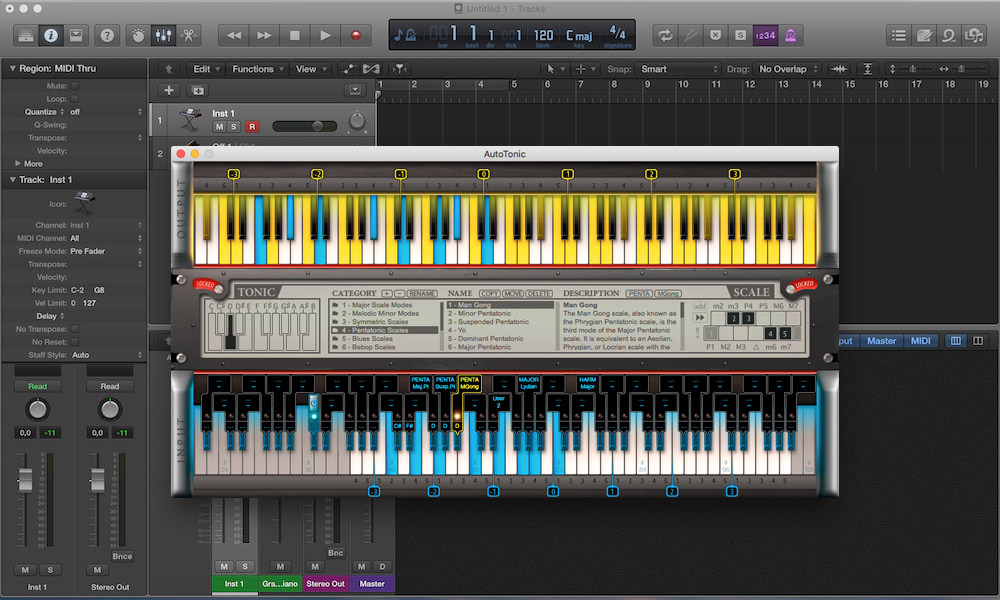 a screenshot of the AutoTonic MIDI processing software used with Logic Pro X