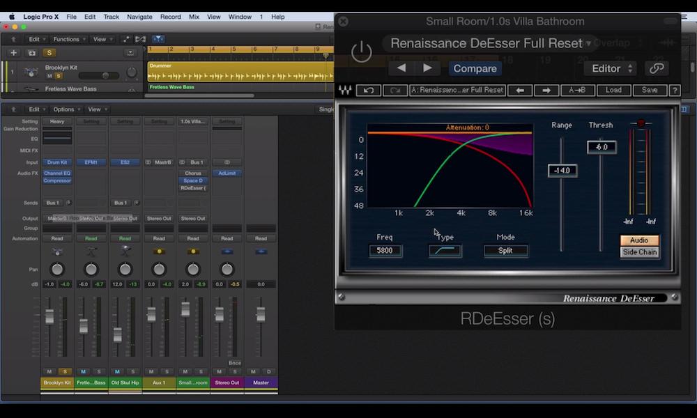 a screenshot of the Waves Renaissance De-Esser plugin in logic pro x