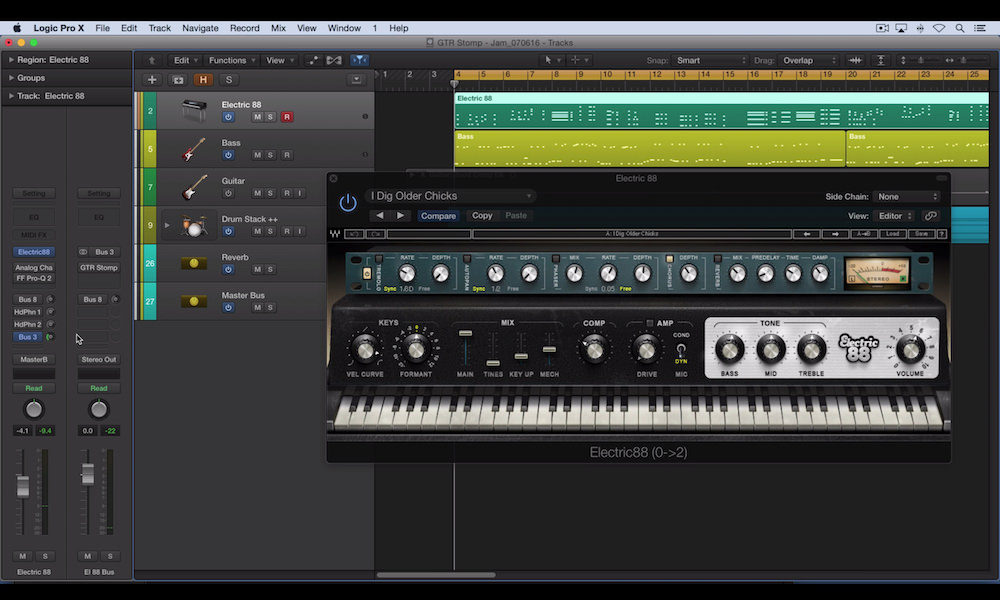 a screenshot of the waves electric 88 plugin in logic pro x