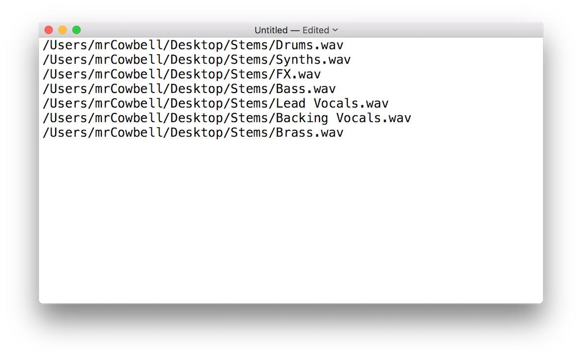 a screenshot of Text Edit on Mac OS X Sierra