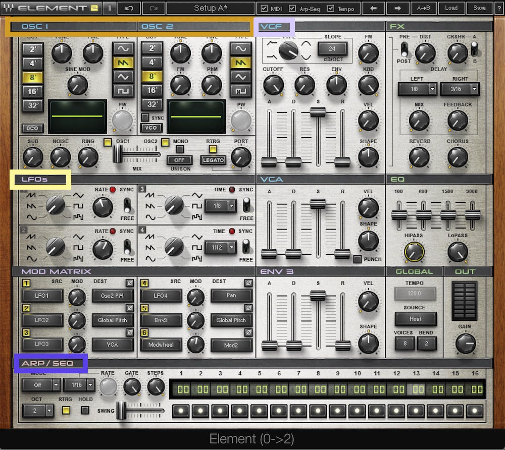 a screenshot of the waves element synthesizer