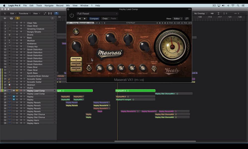 a screenshot of the waves maserati vx1 plugin used to mix female vocals in logic pro x