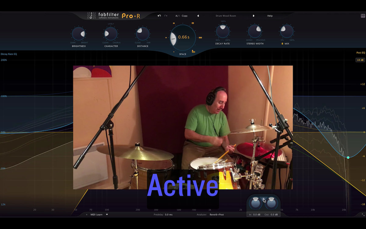 a screenshot of eli krantzberg using the fabfilter pro r reverb plugin on live drums