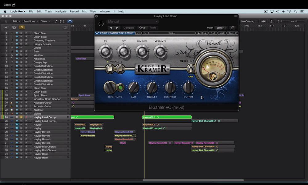 a screenshot of the waves eddie kramer vocal plugin in logic pro x