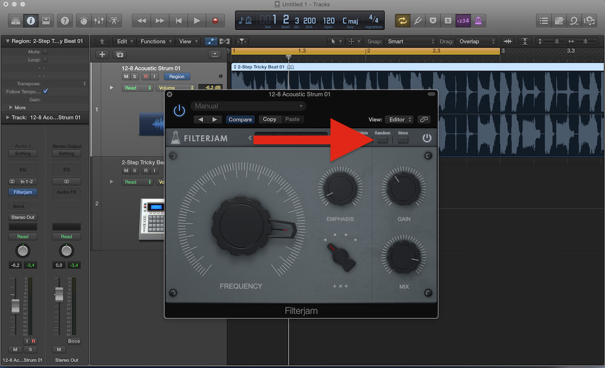 a screenshot of the filterjam plugin in logic pro x