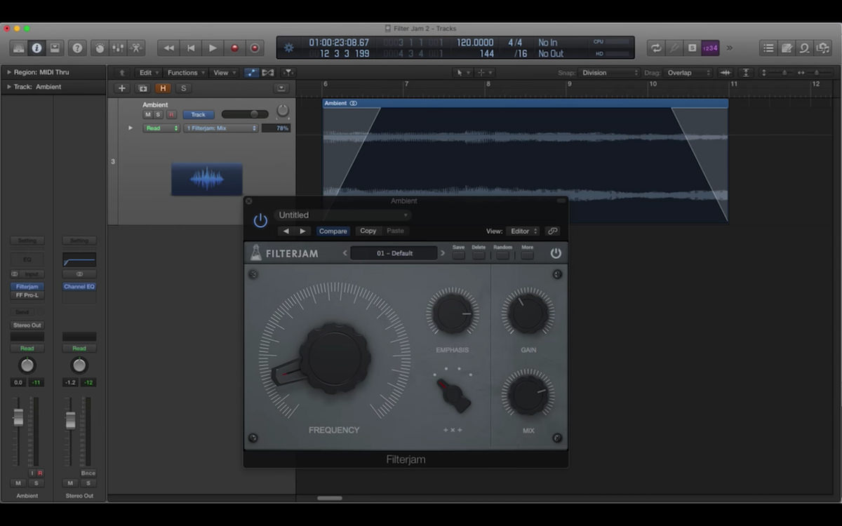 a screenshot of the audiothing filterjam plugin in logic pro x