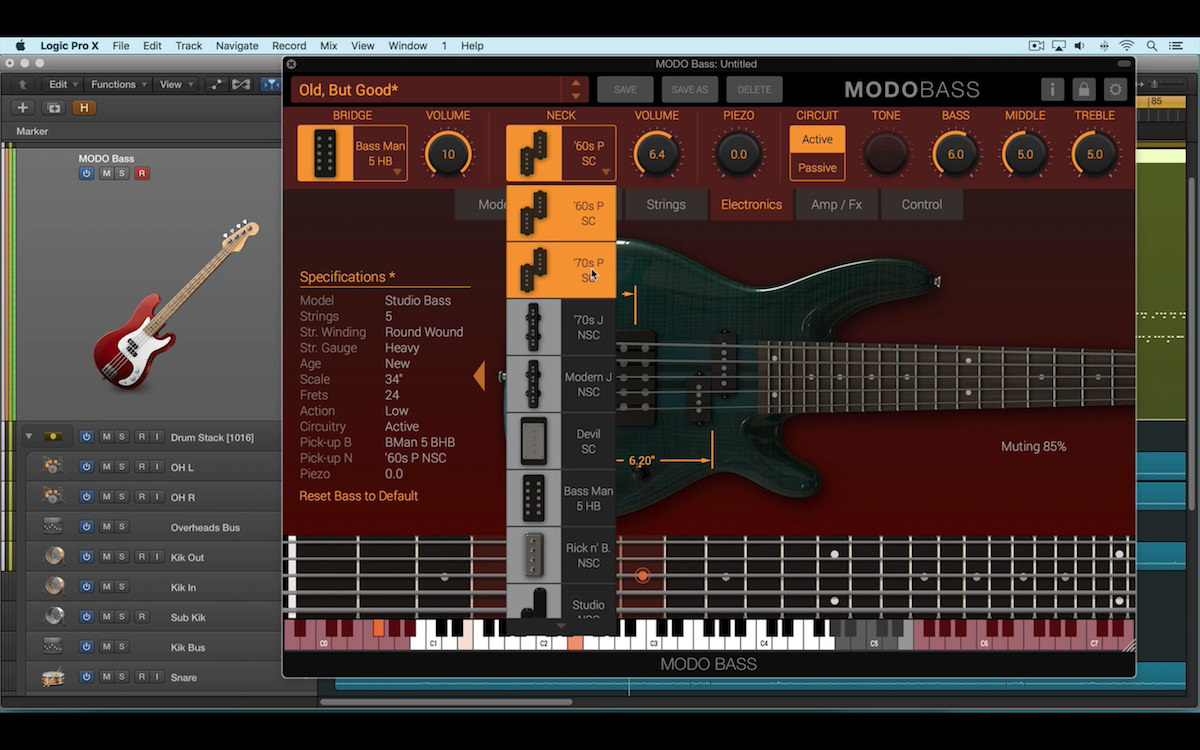 a screenshot of the ik multimedia modo bass virtual instrument in logic pro x