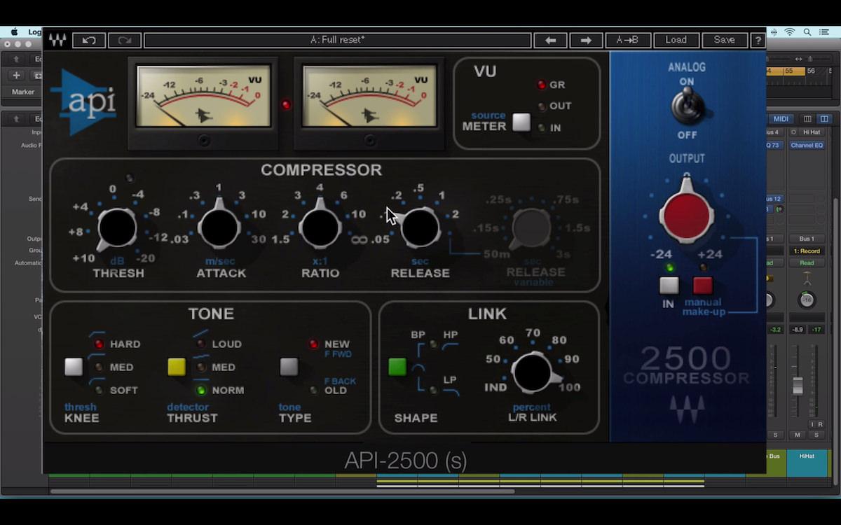 a screenshot of the waves api 2500 compressor plugin in logic pro x