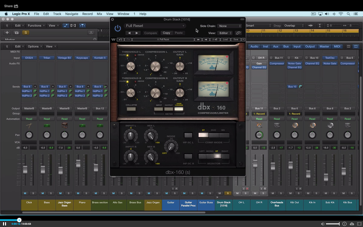 a screenshot of the waves dbx compressor limiter in logic pro x