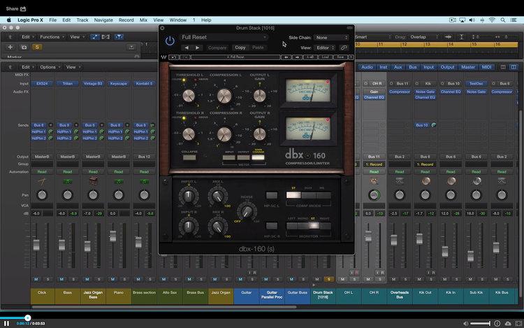 Video Tutorial - Using the Waves DBX 160 Compressor Limiter | Logic Pro