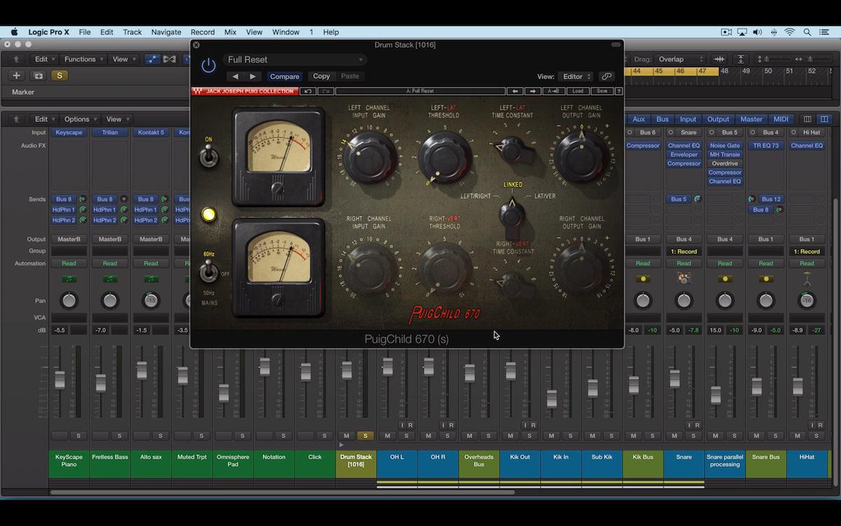 a screenshot of the waves puigchild 670 compressor plugin in logic pro x