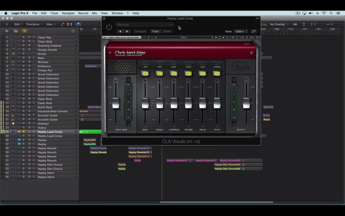 a screenshot of the waves cla vocals plugin in logic pro X