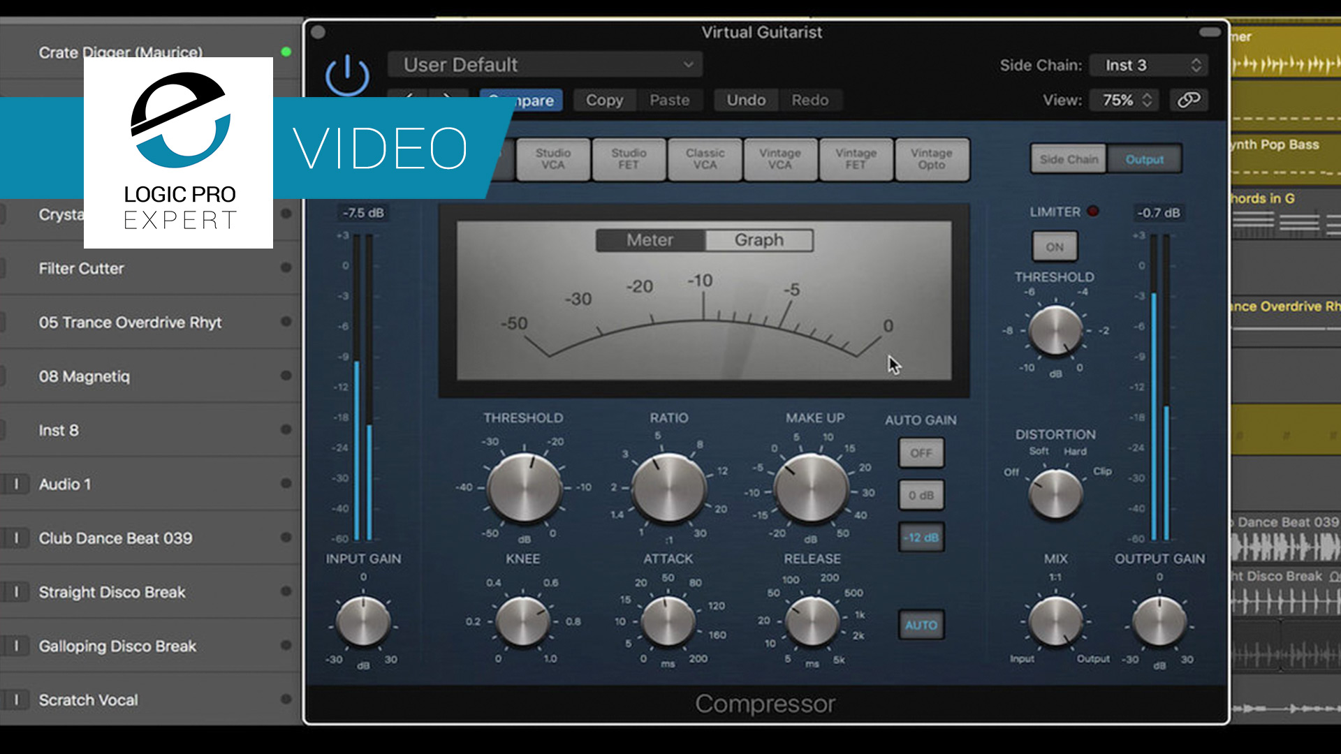 a screenshot of the Compressor plugin in Logic Pro X which can be used for sidechaining