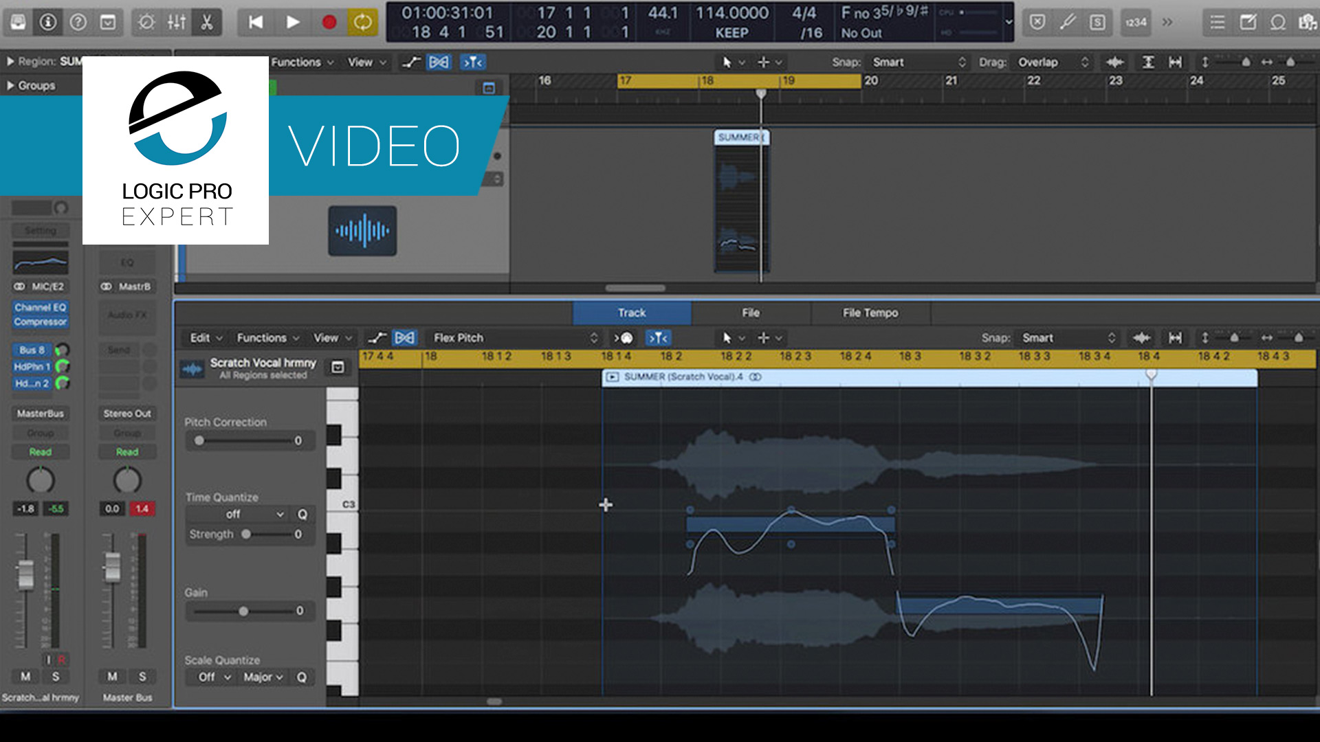 a screenshot of flex pitch in apple logic pro x