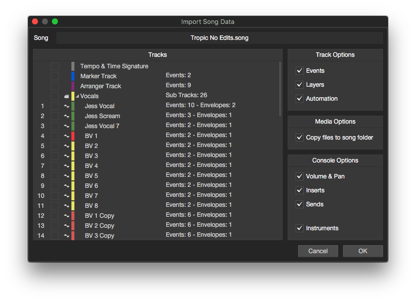 Import Song Data Studio One 4