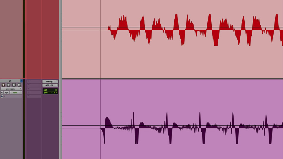 These tracks are from an acoustic guitar recorded with a mic (top) and direct (bottom). Notice the DI track is a slight bit earlier.