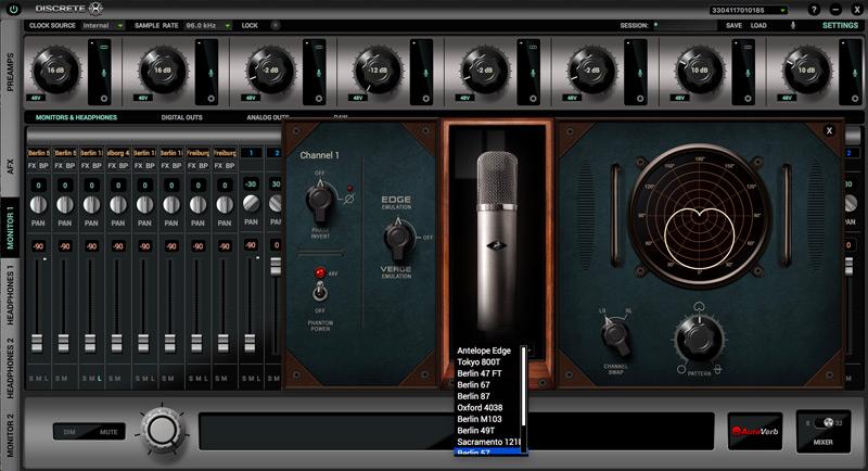 Antelope Audio Edge Modelled Mic Selection In Discrete 8 Control Panel