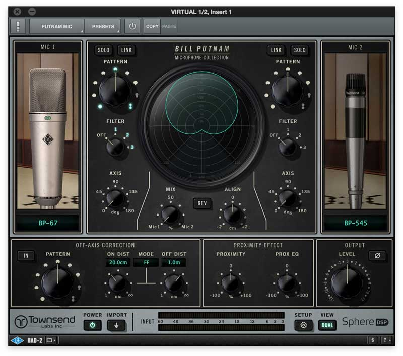 Putnam Mic Collection For Townsend Labs Sphere L22 Microphone, UAD-2 & Apollo  Interfaces