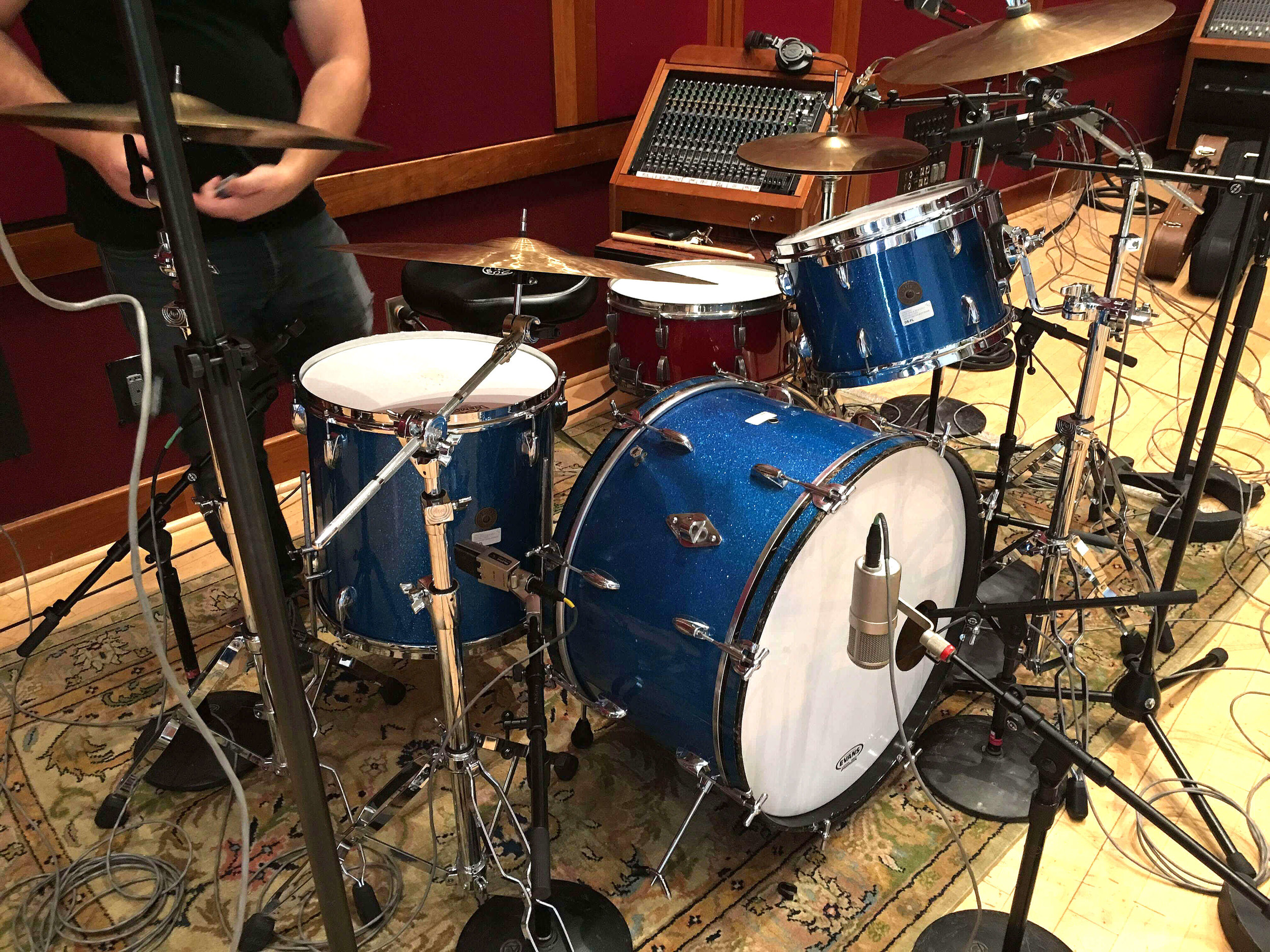 The cymbal on the far right of the drummer is sometimes a challenge for stereo overheads and calls for a spot mic, but in this case the widely spaced Coles did the job well