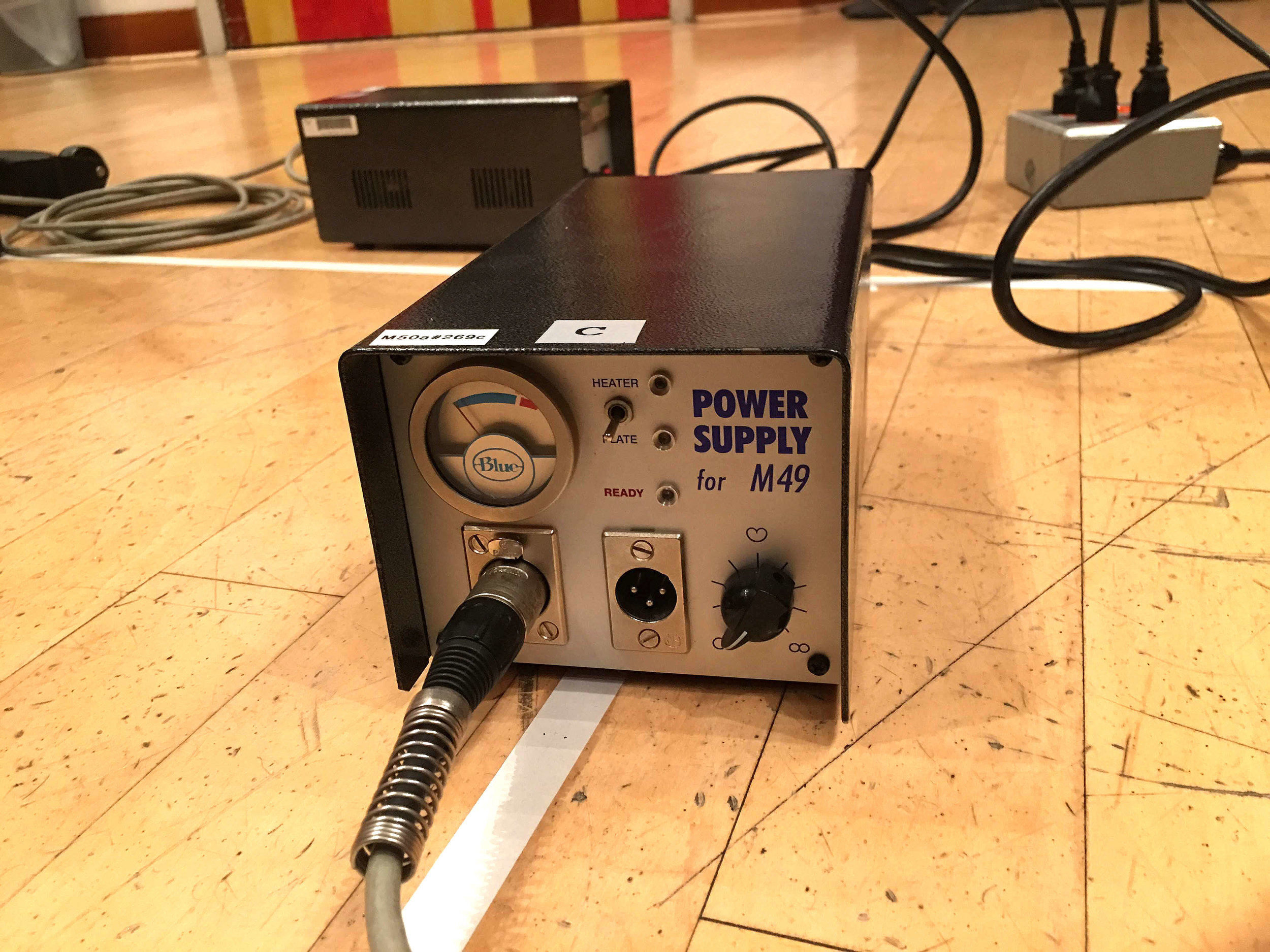 Close up of the re-purposed Blue Microphone M49 power supply