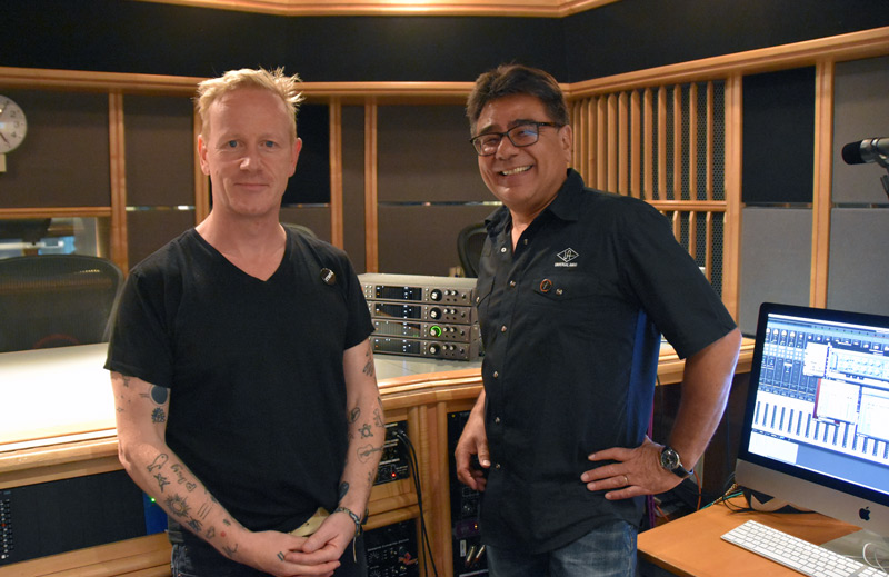 Producer Jacknife Lee And Gannon Kashiwa From universal Audio At AIR Studio 2 Tracking Session.