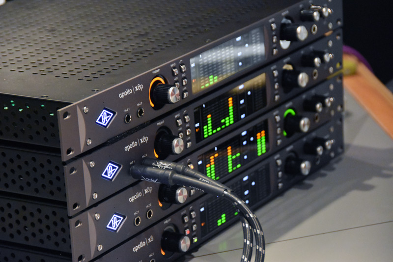 Three of the new Universal Audio x8p Apollo interfaces and one x8 Apollo used in the studio 2 tracking session.