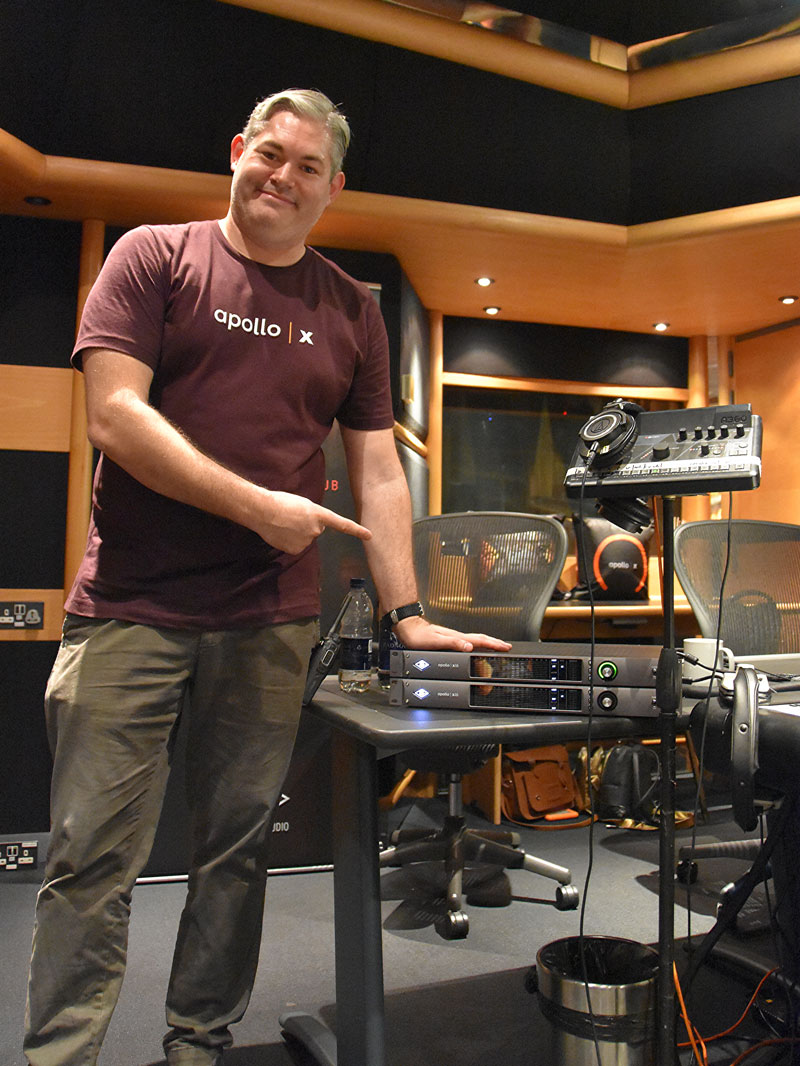 Tom Waterman of Universal Audio with two of the new UA Apollo x16 interfaces used for the orchestral tracking session.