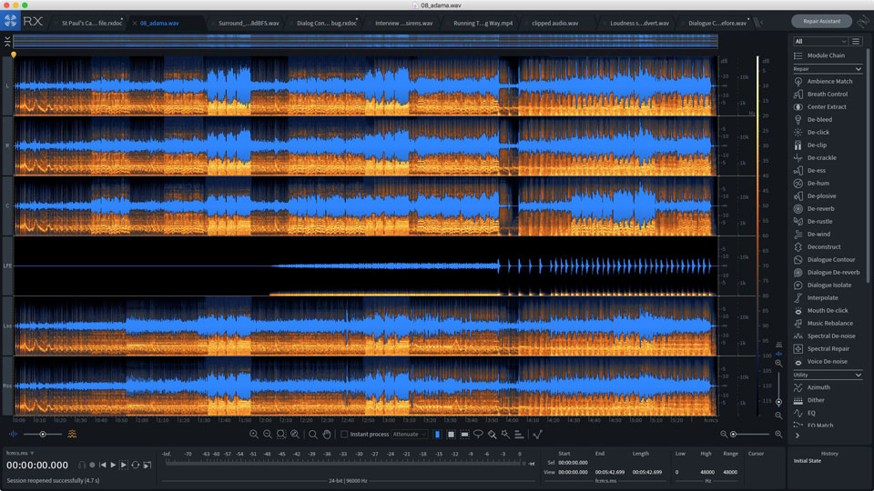 Multi-channel support in iZotope RX 7 Advanced