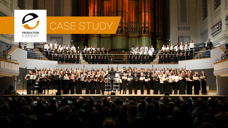 """Over 200 singers and performers make up the """"Massed Choir"""" of the Nation Children's Choir of Great Britain recorded live at the Birmingham Town Hall"""