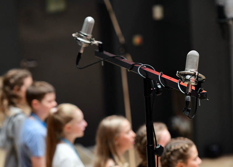 A pair of Audio-technical AT4080 Ribbon Mics were our choice for the Upper Massed Choir mics